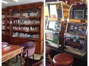 Cabine, bibliothèque et casino