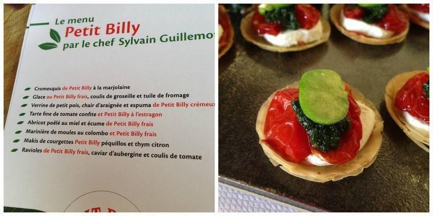 Après la visite, on passe à la dégustation avec un menu Petit-Billy crée spécialement par le chef Sylvain Guillemot, un régal ! A droite,une tarte fine de tomate confite et Petit-Billy à l'estragon et fève...