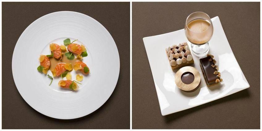 Saumon Gravlax, crème au café et chocolat blanc et un café gourmand avec Carrés marron cassis, Tartelettes caramel et Caroline noisettes