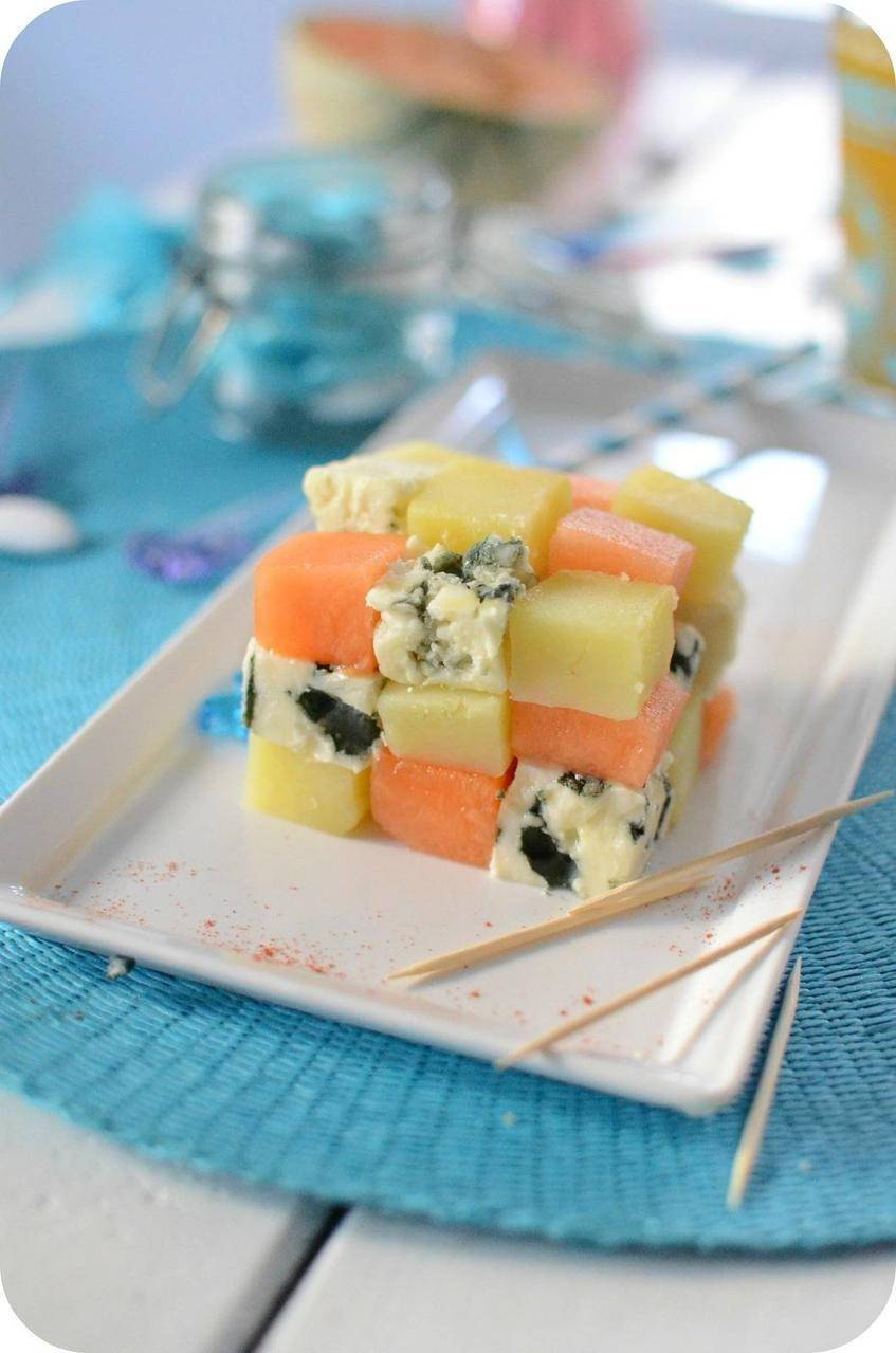 Salade de Roquefort, Melon et Patate en Rubik's Cube