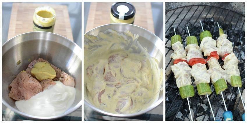 Brochettes de Poulet à la Moutarde au Pesto